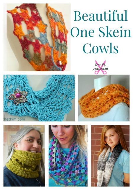 10 Beautiful One Skein Cowl crochet patterns | @craftcoalition.com
