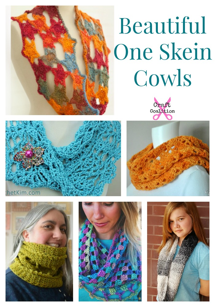 10 Beautiful One Skein Cowl crochet patterns - Craft Coalition!