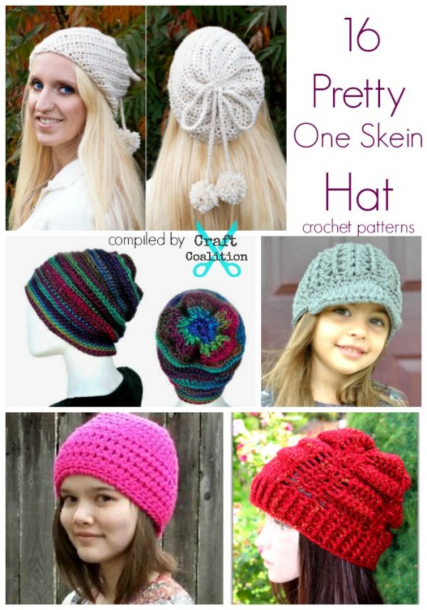 9dab99af3de 16 Pretty One Skein Hat crochet patterns