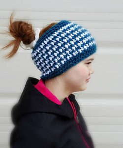 This & That Messy Bun Hat, free crochet pattern by Mistie Bush on CraftCoalition.com