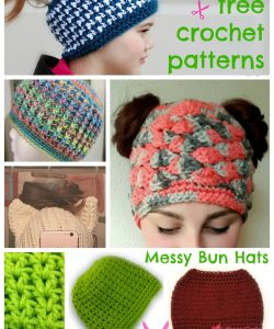 Messy Bun Hat Phenomenon - 12 Free crochet patterns