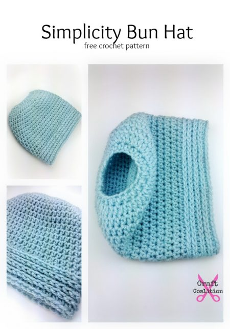 Simplicity Bun Hat, free crochet pattern by Celina Lane, CraftCoalition.com