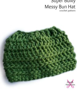 Super Bulky Oversized Messy Bun Hat crochet pattern