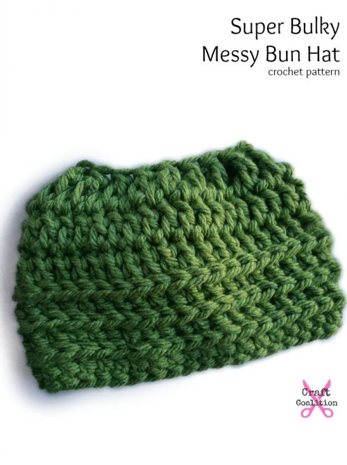 Super Bulky Messy Bun Hat crochet pattern by Celina Lane, CraftCoalition.com pin it!