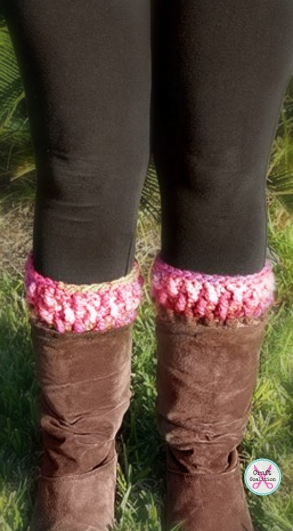 Granite Boot Cuffs crochet pattern by Mistie Bush, CraftCoalition.com