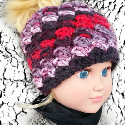 My Dolly Everyday Kisses Messy Bun Hat crochet pattern – 18 inch doll crochet pattern