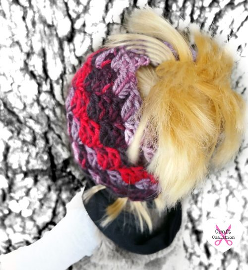 My Dolly Everyday Kisses Messy Bun Hat crochet pattern on CraftCoalition.com