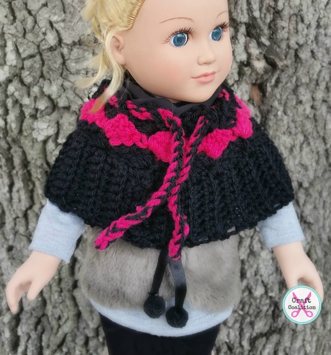 My Dolly Surf Song 3-in-1 messy bun hat, poncho, converible crochet pattern by Mistie Bush on CraftCoalition.com - Poncho crochet pattern