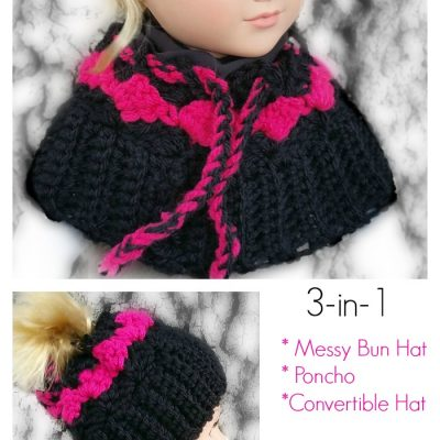 My Dolly Surf Song Convertible 3-in-1 – Poncho, Messy Bun hat, Beanie for 18 inch doll