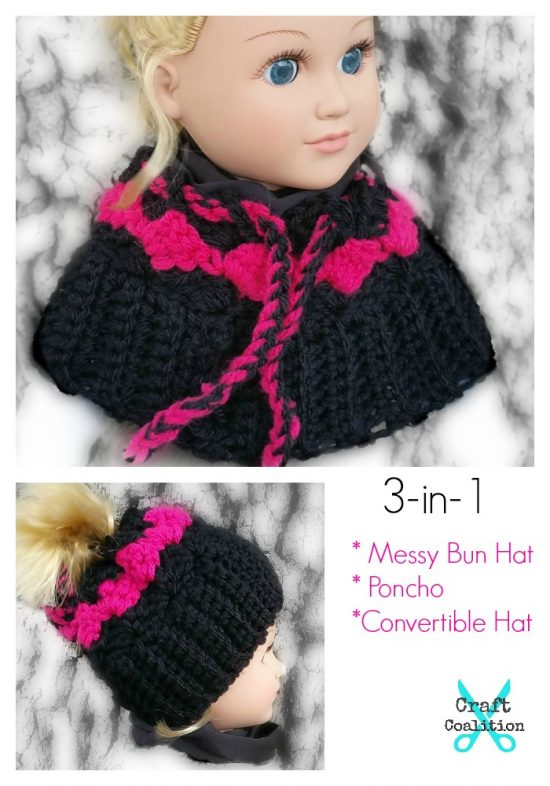My Dolly Surf Song Convertible 3 In 1 Poncho Messy Bun Hat