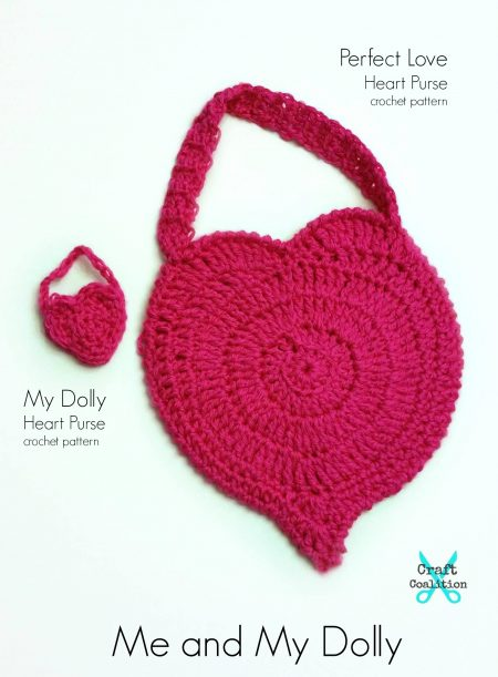 Me and My Dolly Perfect Love Heart Purse crochet pattern on CraftCoalition.com pin