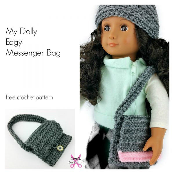 My Dolly Edgy Messenger Bag crochet pattern - 18 inch doll crochet ...