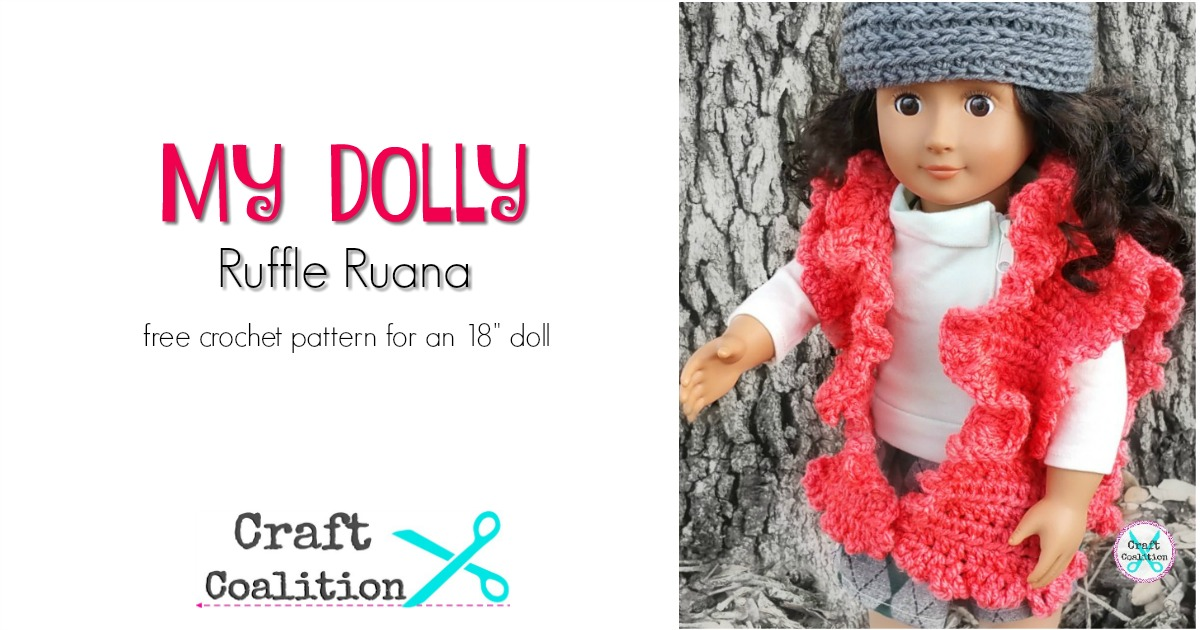My Dolly Ruffle Ruana - free crochet pattern for an 18 doll by ...