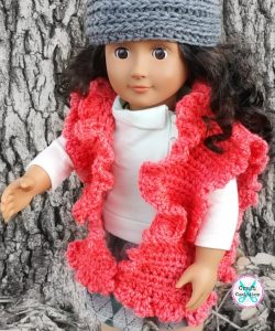 My Dolly Ruffle Ruana – 18″ doll crochet pattern